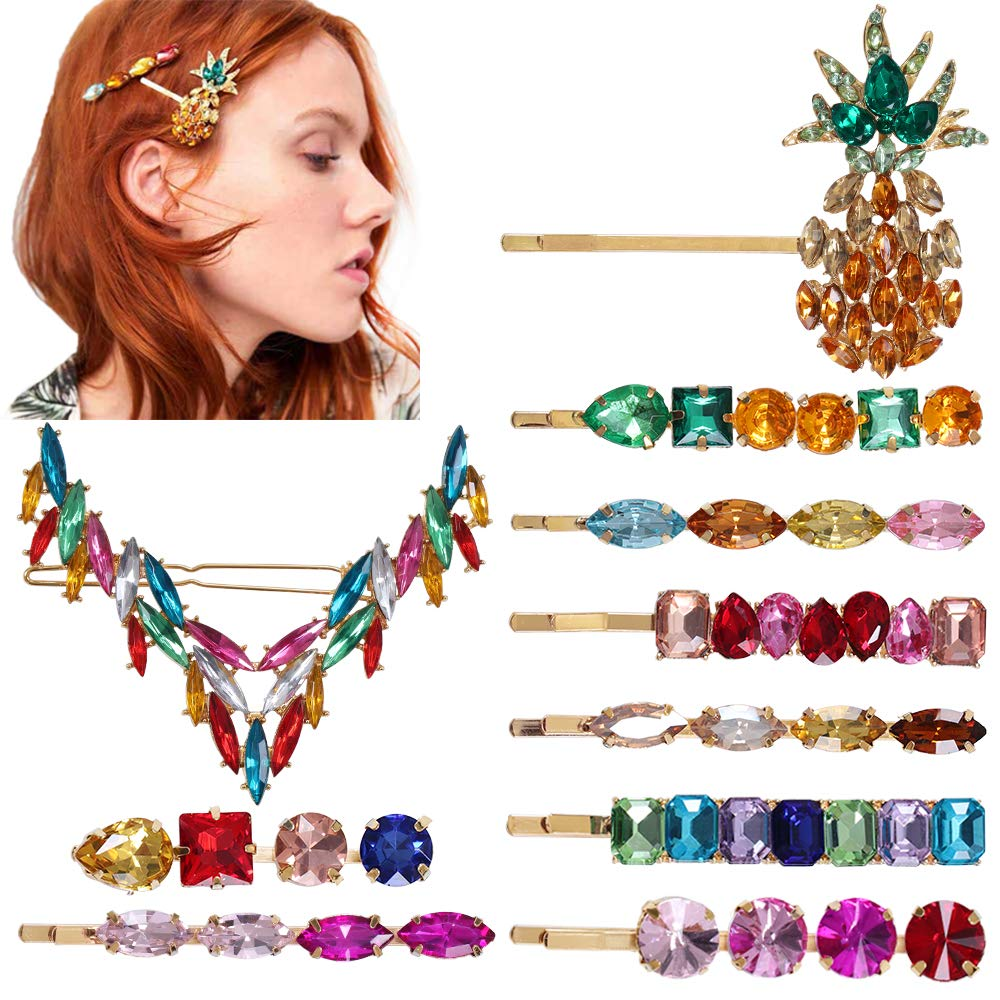 10 Pcs Vintage Colorful Crystal Hair Pins Rhinestone Hair Clips Crystal Pineapple Bobby Pins Large V Shape Hair Barrettes Gold Hair Pins for Women by YMHPRIDE