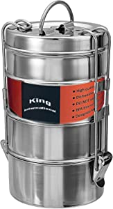 King International Stainless Steel Food Grade Bento Vintage Wire Tiffin Box, Traditional Indian Lunch Box,Tiffin Box,Food Container,Indian Tiffin, Food storage container 11 cm (4 Tier) |100% BPA Free