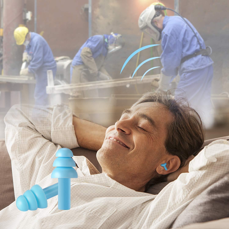 per dormire ultra confortevoli per la riduzione del rumore 2 paia impermeabili NRR 32 nuotare ipoallergenici 2 paia di tappi per le orecchie riutilizzabili in silicone concerti e aerei