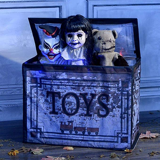 Animated Haunted Toy Box that opens and talks