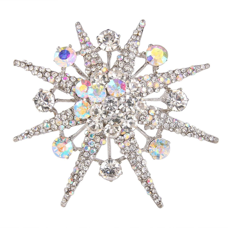 EVER FAITH Snowflake Star Brooch Iridescent Clear AB Austrian Crystal