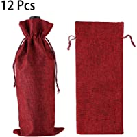 Wine Red Burlap Wine Bag Red Wine Bags 12 Packs Champagne Bottle Bags Wine Bottle Protector for Travel Wedding Birthday