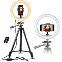 "$39 » UBeesize 10"" Selfie Ring Light with 50"" Extendable Tripod Stand & Flexible Phone Holder for Live…"