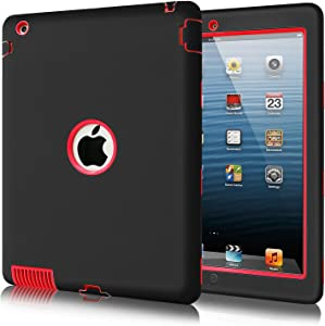 iPad 2 Case for Kids, iPad 3 Case,Fingic iPad Case Red 3 Layer Armor High-Impact Rugged Shockproof Protective Case for iPad 2nd / 3rd / 4th Generation, Black/Red