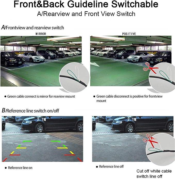 Universale Alta Definizione retrovisore di backup fotocamera per auto con specchio//non-mirror indirizzo//no-guideline regolabile