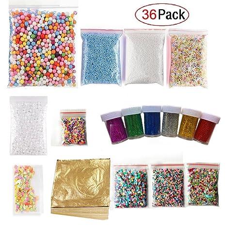 36 unidades Slime Making Kits suministros, espuma bolas, purpurina Shake tarros, perlas de imitación oro Leaf, Pecera ...