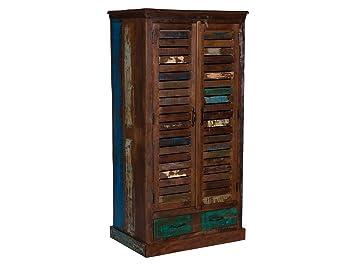 Woodkings Kleiderschrank Wakefield 2tür, Recyceltes Massivholz Antik,  Flurschrank Vintage, Flurmöbel, Dielenschrank,