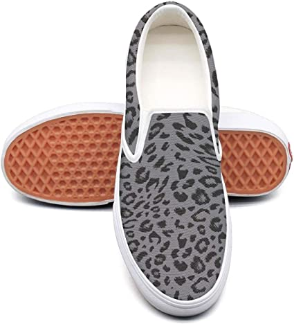 SEERTED Gray Leopard Print Canvas Shoes