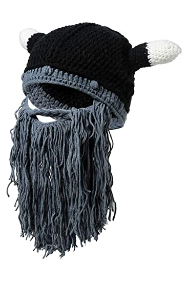 Christmas Winter Men New Knit Viking Horn Cap Long Beard Holiday Party Wool Hat