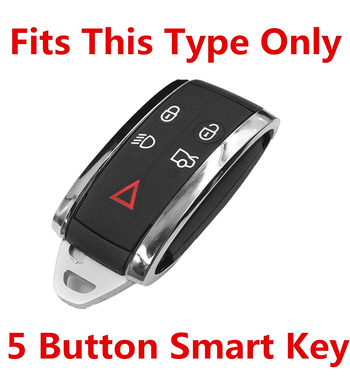 Rpkey Leather Keyless Entry Remote Control Key Fob Cover Case protector For Jaguar X S-Type XF XK XKR 5B KR55WK49244 KR55WK45694