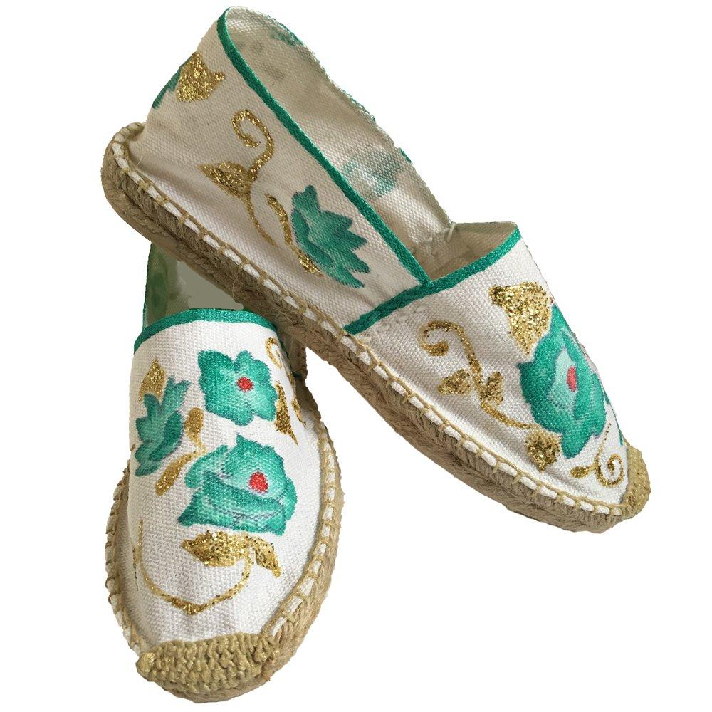 Mexico fashions - Alpargatas con Flores pintadas a Mano, Alpargatas Modernas con Flores, Alpargatas Bonitas: Amazon.es: Zapatos y complementos