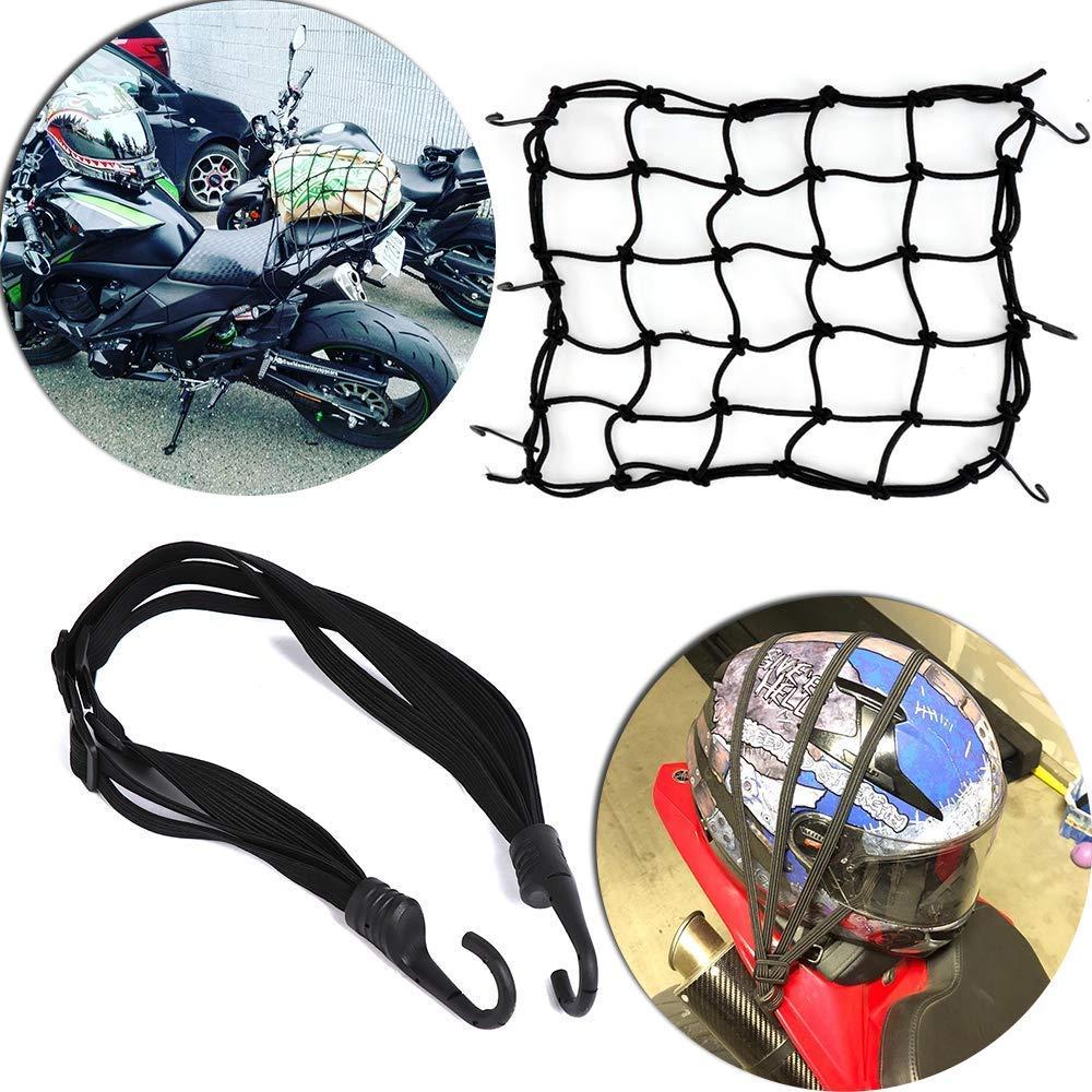 Motor Cargo Net Elastic 1PC Cargo Net + 1PC Elastic Rope Strap Motorcycle, Motorcycle Helmet Cargo Net Luggage Package Cargo Net Load Cover Cord Web UKFHBTB003AFHBTB007