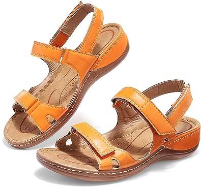 Camfosy dam vandring sandaler, kvinnor utomhus sport sandaler platt justerbar kardborrlås semester sommar skor fritid trevlig barfot-känsla vandringsskor