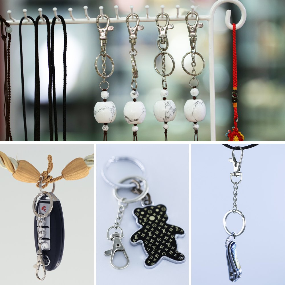 100 Pcs Metal Swivel Hooks Lobster Claw Clasps, Keychain Rings with Chain for Lanyard Supplies