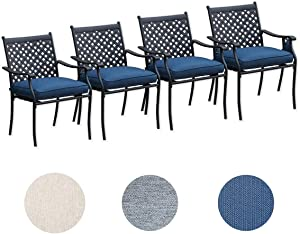 Top Space 4 Piece Metal Outdoor WroughtIronPatioFurniture,Dinning Chairs Set with Arms and Seat Cushions (4 PC, Blue)
