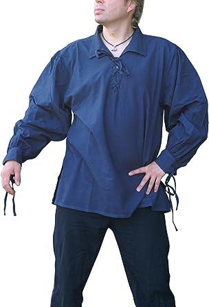 La edad media camisa con cuello de algodón, colour azul de la ...