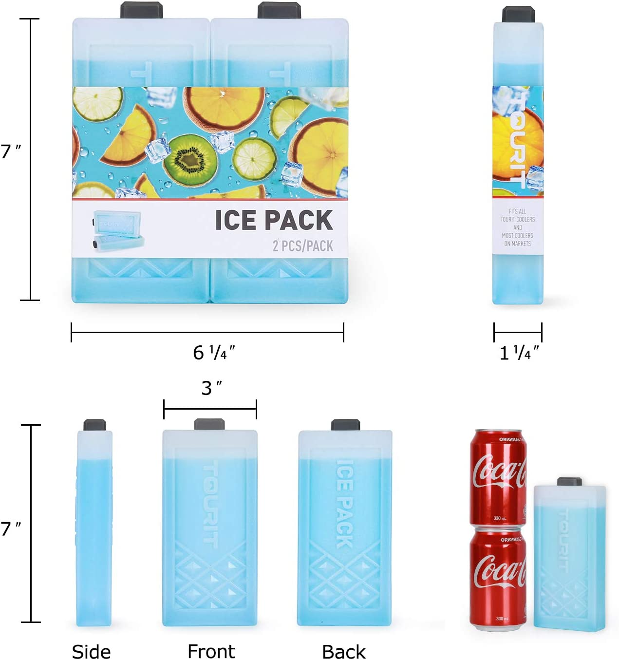 Fishing and More(Set of 2) TOURIT Reusable Ice Packs Long Lasting Ice Block Freezer Cool Packs for Coolers Picnics Camping Lunch Bags//Boxes Cooler Backpack Beach