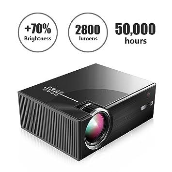 C7 - Mini proyector portátil 1080p HD 2800 lúmenes, Pantalla LCD + ...