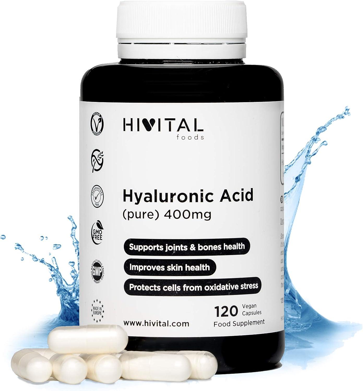 Ácido Hialurónico puro 400 mg   120 cápsulas veganas (Suministro para 4 meses)   Alta dosis, concentración y biodisponibilidad que mantiene los cartílagos, articulaciones, huesos y piel sanos