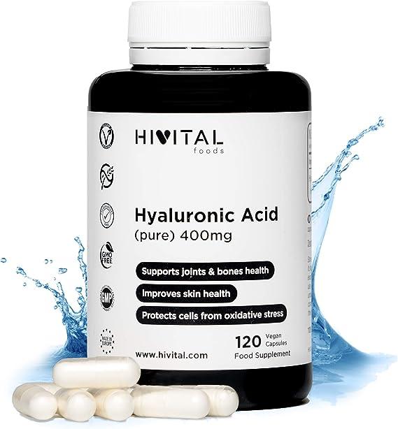 Ácido Hialurónico puro 400 mg | 120 cápsulas veganas (Suministro ...