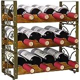 X-cosrack Rustic Stackable 12 Bottle Wine Rack 3 Tier Freestanding Wine Organizer Holder Stand Countertop Liquor Storage…