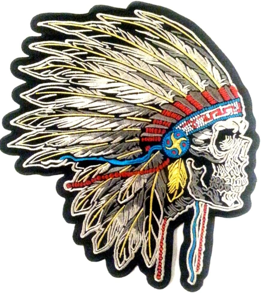 Escudo parche bordado Appliqu/é coser Biker ndienne Crane de calavera para BLOUSON/ /Chaqueta de ropa grande talla indio Skull 24/x23/cm