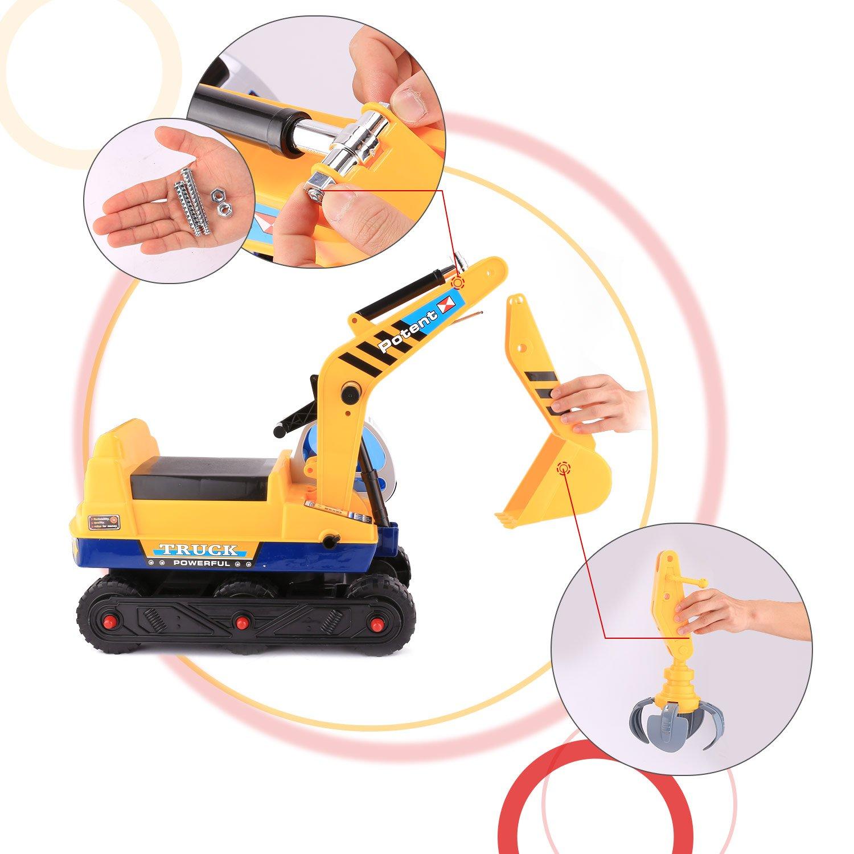 Profun 2 en 1Jouet dimitation Tracteur de Construction dExcavatrice Jouet dExcavatrice avec un Casque