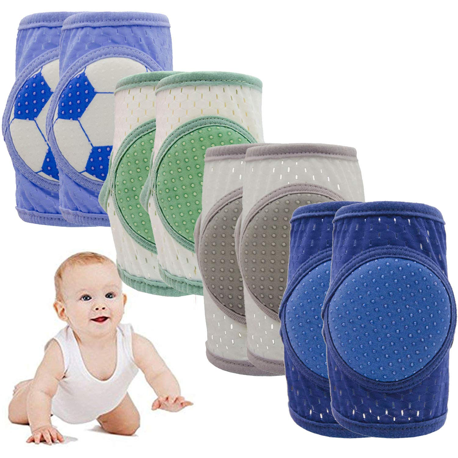 Alpurple 4 Pairs Baby Crawling Cotton Anti Slip Knee Pads- Toddlers Adjustable Breathable Elbow Pads, Warmer Crawling Safety Protective Cover by Purple Star
