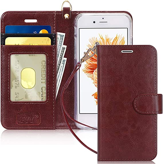 Red for iPhone 6//6S Luxury PU Leather Wallet Credit ID Card Slots Holder Shockproof Flip TPU Bumper Protective Phone Cover