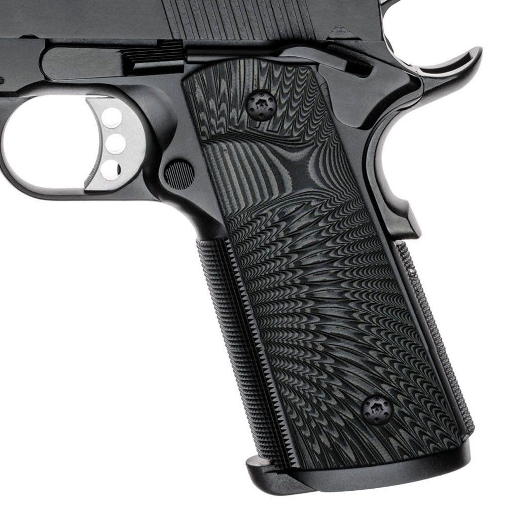 Cool Hand 1911 Full Size G10 Grips, Magwell Cut,Big Scoop, Ambi Safety Cut, Sunburst Texture, Brand, Grey/Black by Cool Hand