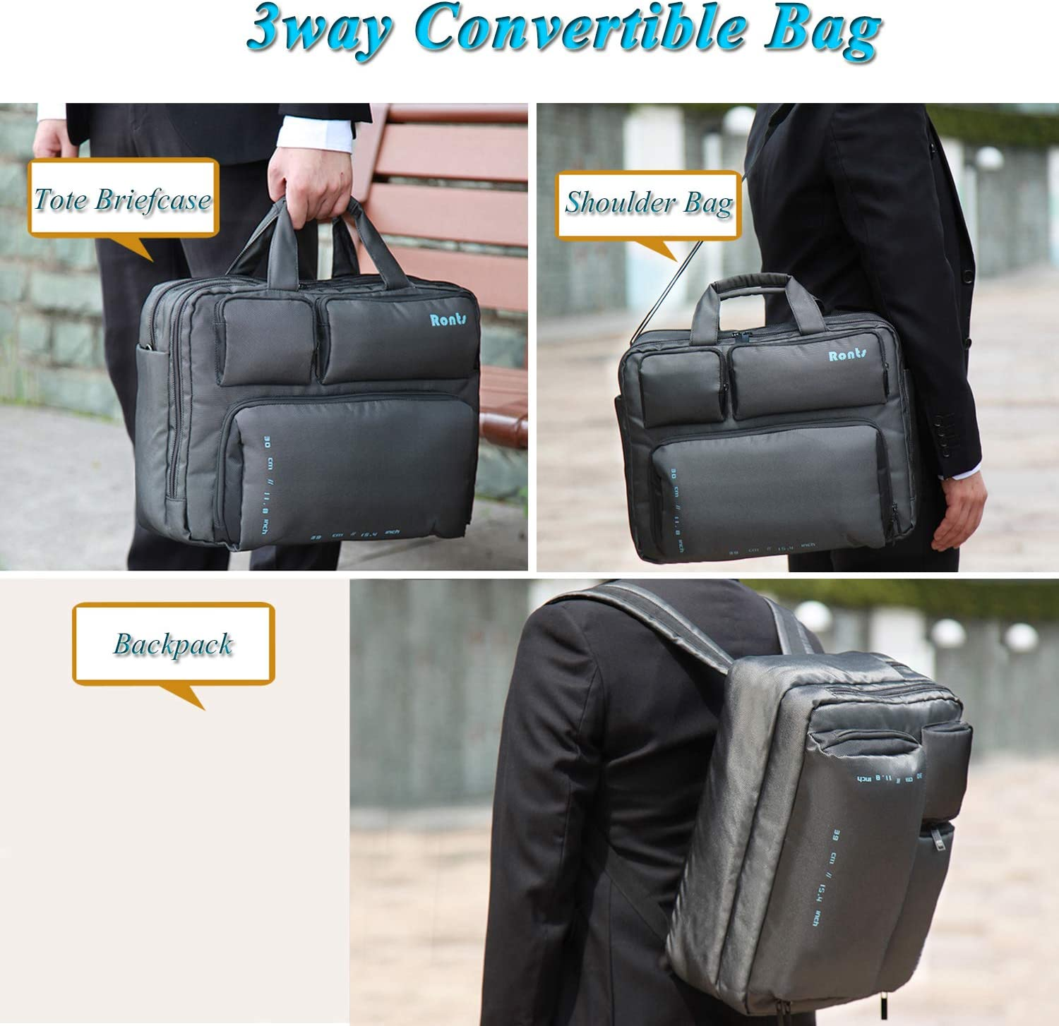 Ronts Black Briefcase for Men Waterproof Nylon Leather Handbags Travel Business Shoulder Messenger Bag