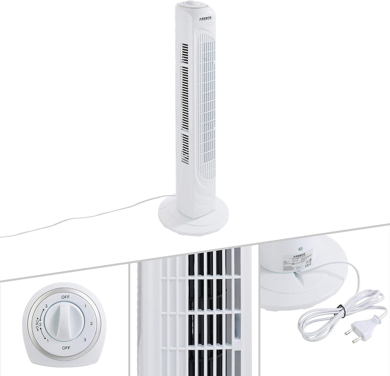 50 Watt, 45/° Oszillationsfunktion, Timer, 3 Geschwindigkeitsstufen, 3 Ventilationsmodi, sparsam, mit Fernbedienung oneConcept Blitzeis S/äulenventilator Turmventilator Ventilator wei/ß