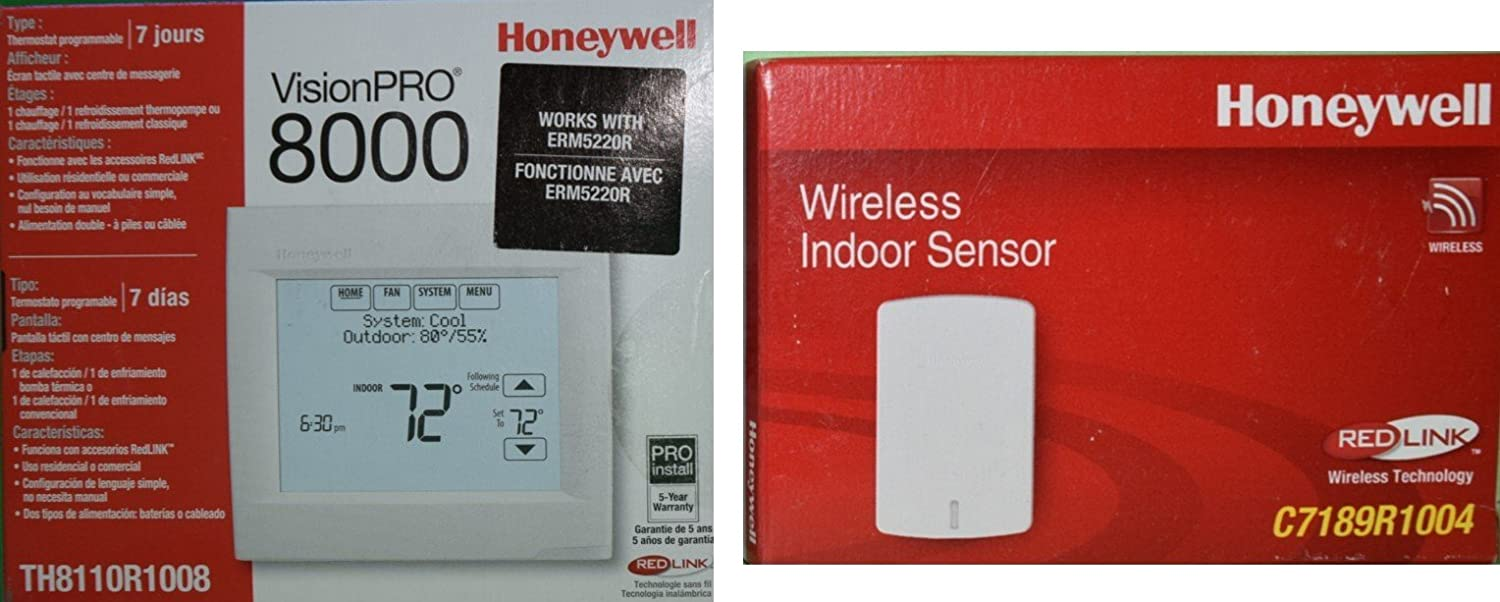 Honeywell TH8110R1008 Vision Pro 8000 Touch Screen Single Stage Thermostat with Red Link Technology BONUS: Includes 1 Indoor Sensor C7189R1004 to Average ...