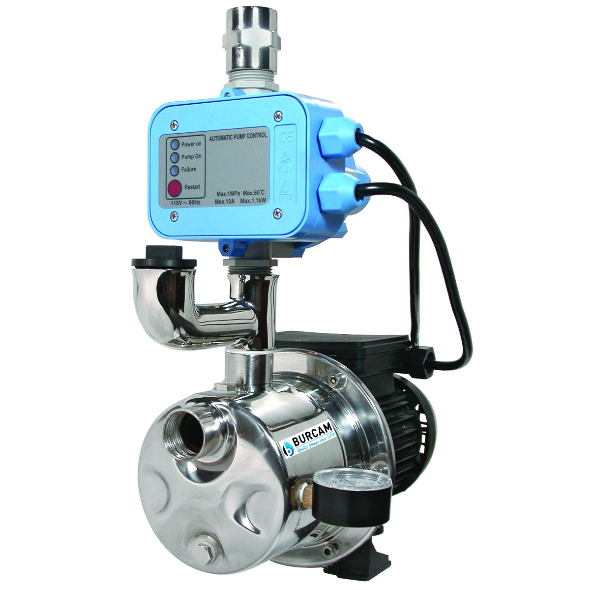 BURCAM 506532SS 3/4 HP Dual Application Tankless Shallow Well Jet Pump and Booster System by Bur-Cam