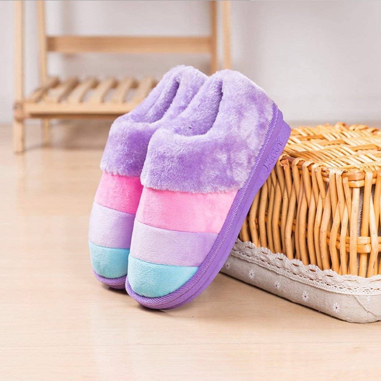 Lamijua Autumn and Winter Color Stripes Pregnant Women Fur Slippers