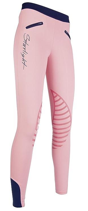 Neuankömmlinge Fang Qualität HKM Reitleggings -Starlight- Silikon-Kniebesatz, rosa/dunkelblau, 134/140