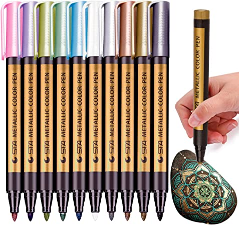 10 Colors Metallic Paint Marker Pens Metallic Sheen Glitter Calligraphy Arts CA