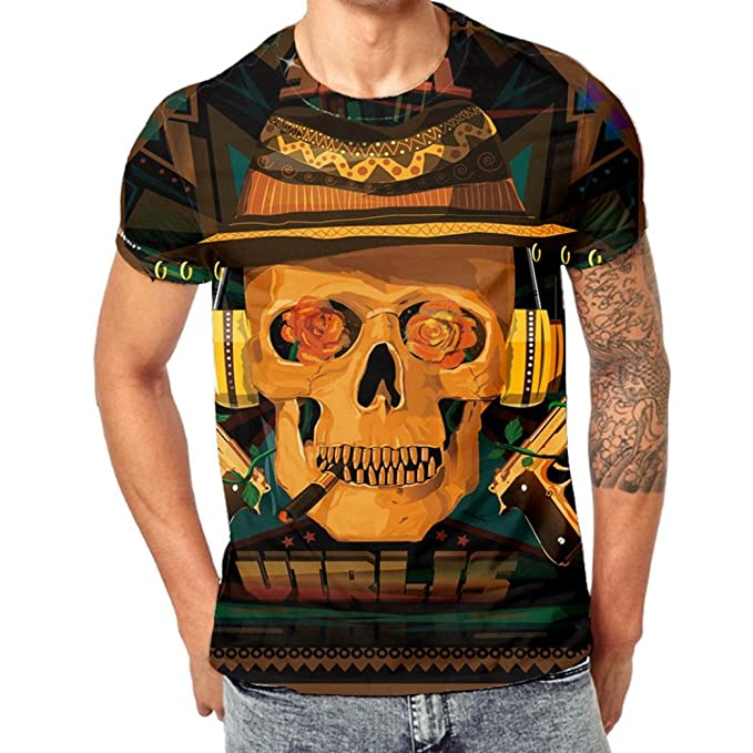 Camisetas Calaveras Hombre Hipster LHWY, Camisetas con Estampado De 3D Cuello Redondo Tops Suelto Manga