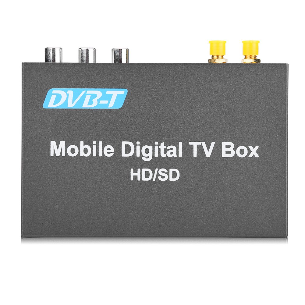 Qiilu High Speed DVB-T Car HD Mobile Digital TV Box Receiver with 2 Antenna Tuners Remote Control