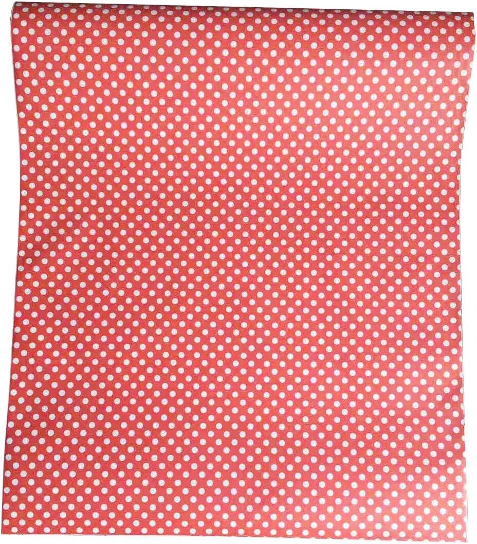"TaoGift Self-Adhesive Red Polka Dot Shelf Drawer Liner Furniture Wall Paper Dresser Decal Sticker Peel and Stick Poka Dots Wallpaper 17.7""x78.7"""