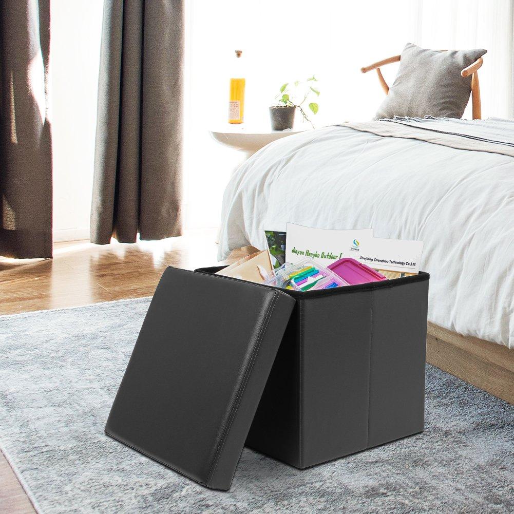 AMOIU 38 cm Sitzhocker Ottoman Cube Sitzbank Sitzbox Aufbewahrungsbox