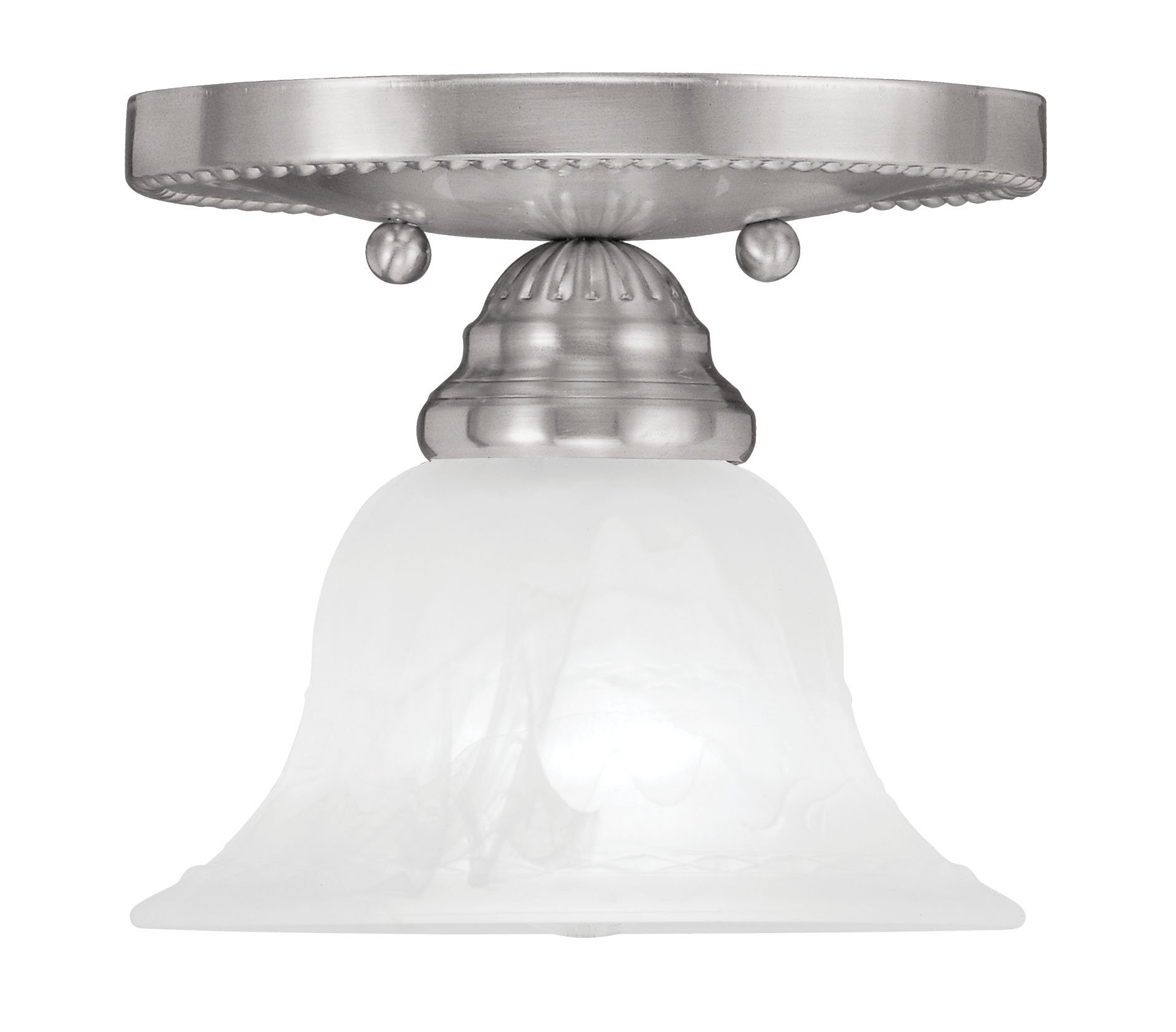 Livex Lighting 1530-91 Edgemont 1-Light Ceiling Mount, Brushed Nickel