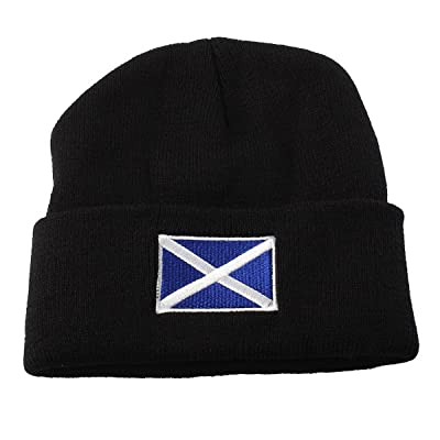 Accessoryo - unisexe chapeau de bonnet noir avec drapeau écossais brodé