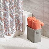 mDesign Soft Cotton Fabric Closet Storage Organizer Bin Basket Storage Organizer for Bathroom - Coated Interior and Attached Handles - Use on Vanity, Cabinet, Shelf, Countertop - Tall - Light Gray