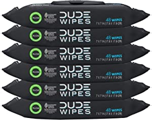 DUDE Wipes Flushable Wipes Dispenser, Unscented Wet Wipes with Vitamin-E & Aloe for at-Home Use, Septic and Sewer Safe, 48 Count (Pack of 6)