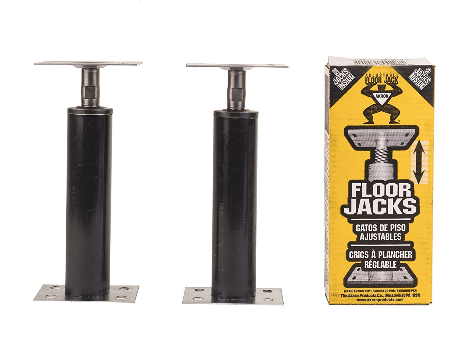 Akron Products J C42 Telescoping Adjustable Floor Jack 1' - 1'3'', 15 Gauge, Adjustable Range 12''-15''(Pack of 2 C4), 12'' Length, 12'' Height, Black