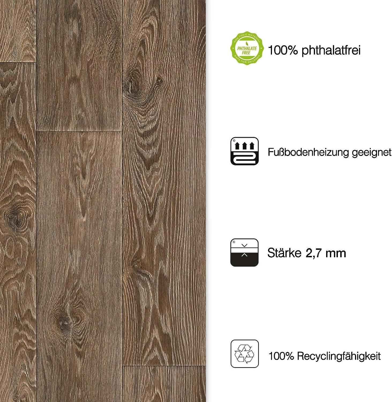 gesch/äumt - Eiche Vintage Dunkel 200x800 cm Meterware edle Holzoptik Oberfl/äche strukturiert casa pura/® CV Bodenbelag Vancouver extra abriebfester PVC Bodenbelag