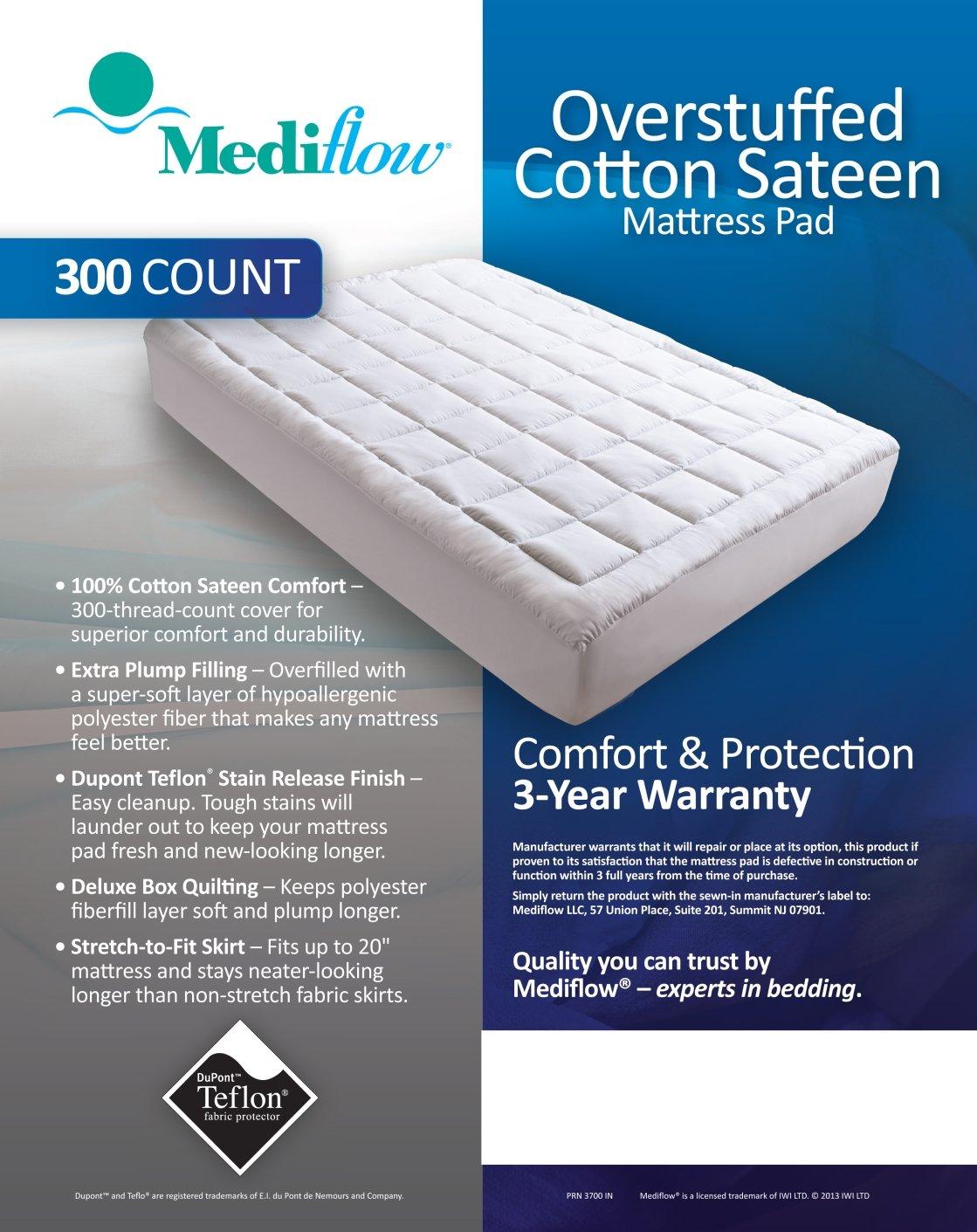 Queen 3704 Mediflow Overstuffed Cotton Sateen 60 by 80-Inch Mattress Pad