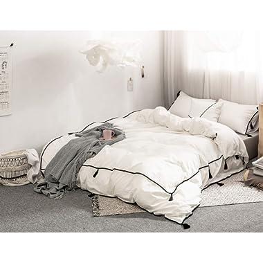 POMUED Wash Cotton Pom Duvet-Cover-Set King White Luxury Soft Comforter-Cover Set,3Pieces Pendant Bedding-Set
