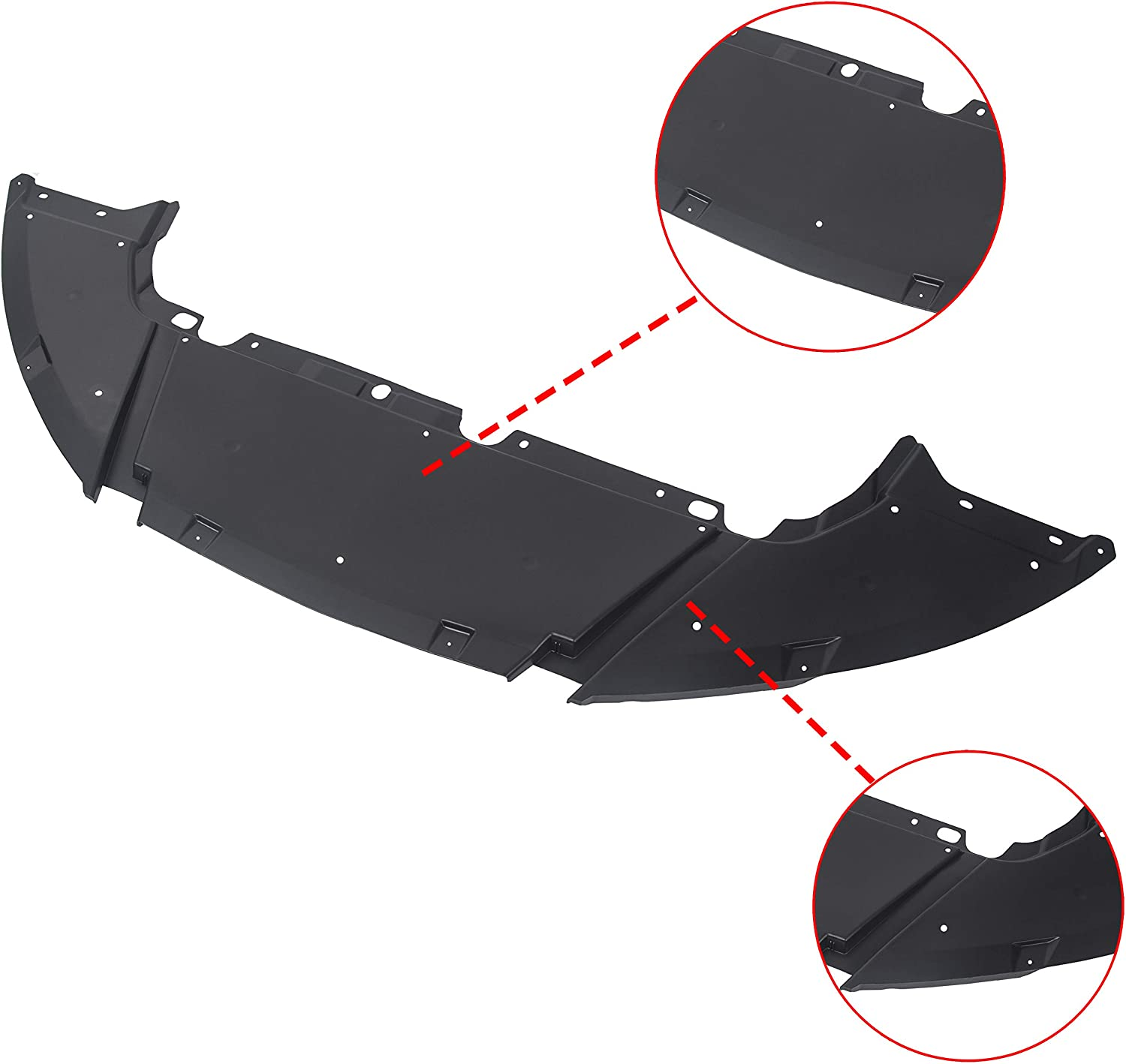 ECOTRIC Front Engine Splash Shield Guard Under Cover for 2012-2018 Ford Focus Sedan Compatible Air Deflector Replacement for FO1228119 CP9Z8310A
